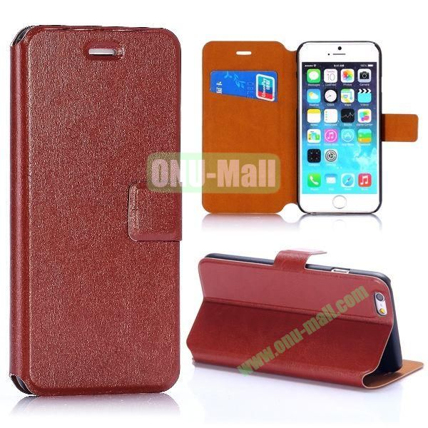 Crazy Horse Texture Magnetic Flip Stand PC+PU Leather Case for iPhone 6 4.7inch (Brown)