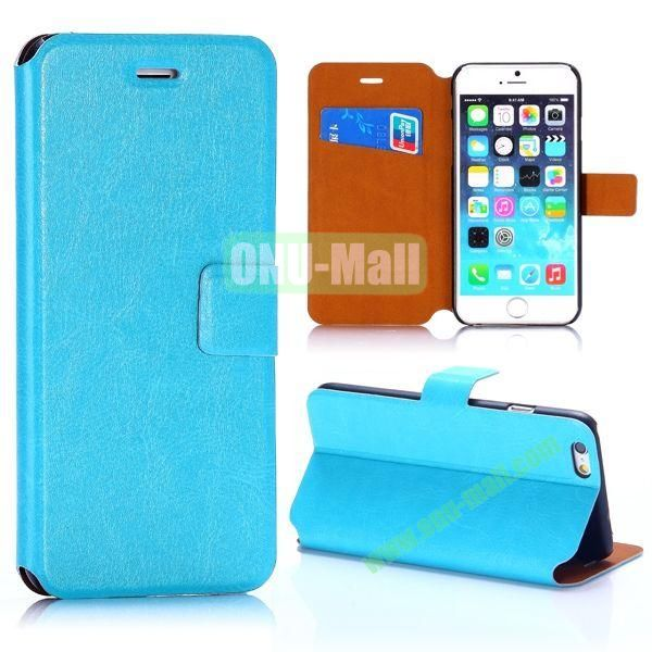 Crazy Horse Texture Magnetic Flip Stand PC+PU Leather Case for iPhone 6 4.7inch (Blue)