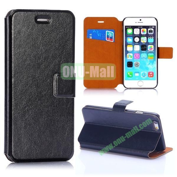 Crazy Horse Texture Magnetic Flip Stand PC+PU Leather Case for iPhone 6 4.7inch (Black)