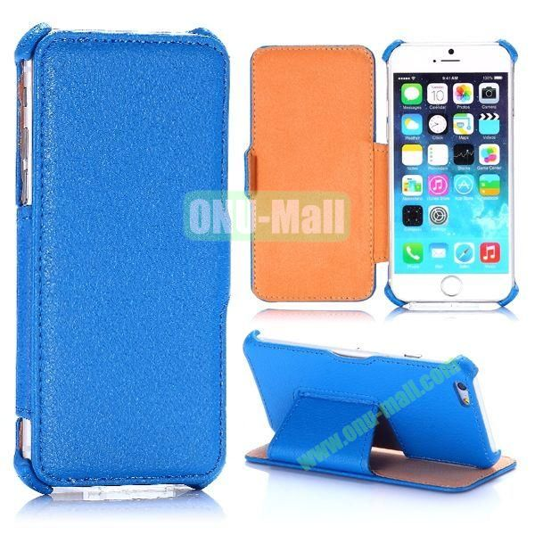 Litchi Texture Side Flip Stand Leather Case for iPhone 6 4.7 inch (Blue)