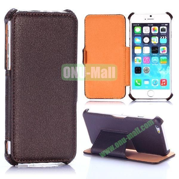 Litchi Texture Side Flip Stand Leather Case for iPhone 6 4.7 inch (Brown)