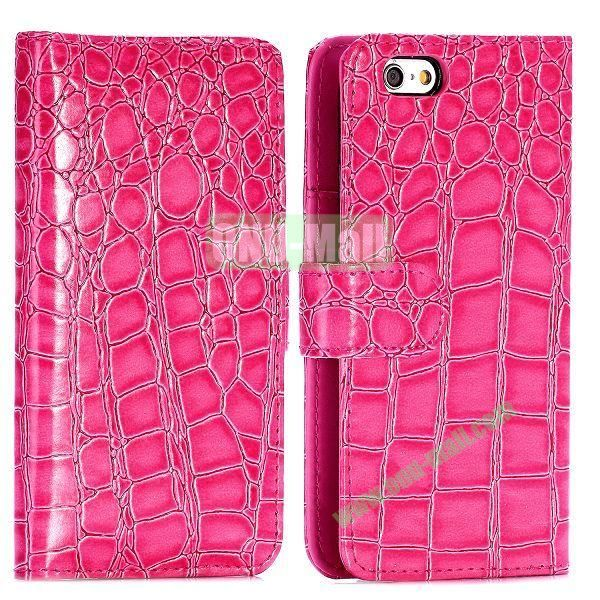 Crocodile Pattern Magnetic Flip Stand PC+PU Leather Case for iPhone 6 4.7 inch (Rose)