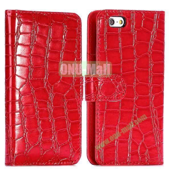 Crocodile Pattern Magnetic Flip Stand PC+PU Leather Case for iPhone 6 4.7 inch (Red)