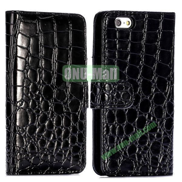 Crocodile Pattern Magnetic Flip Stand PC+PU Leather Case for iPhone 6 4.7 inch (Black)