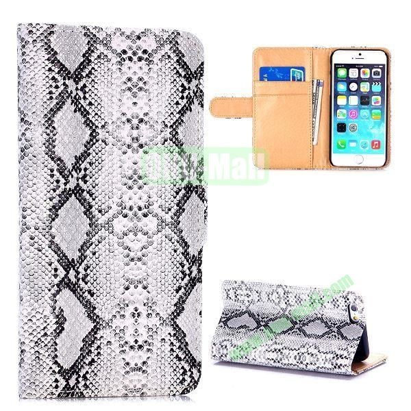 Crocodile Pattern Magnetic Flip Stand PC+PU Leather Case for iPhone 6 4.7 inch (White)