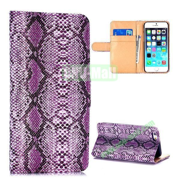 Crocodile Pattern Magnetic Flip Stand PC+PU Leather Case for iPhone 6 4.7 inch (Purple)