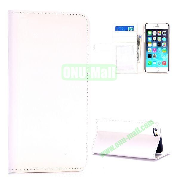 Fashion Magnetic Flip Stand PC+PU Leather Case for iPhone 6 4.7 inch (White)