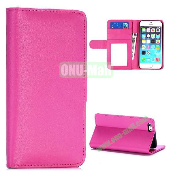 Fashion Magnetic Flip Stand PC+PU Leather Case for iPhone 6 4.7 inch (Rose)