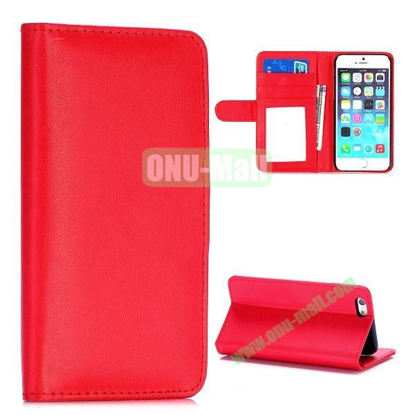 Fashion Magnetic Flip Stand PC+PU Leather Case for iPhone 6 4.7 inch (Red)