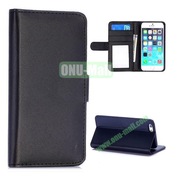 Fashion Magnetic Flip Stand PC+PU Leather Case for iPhone 6 4.7 inch (Black)