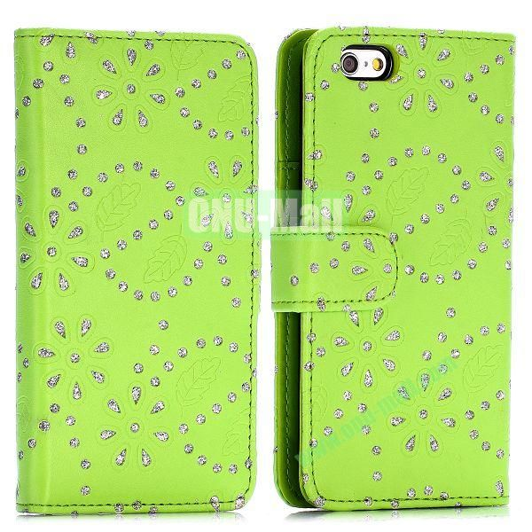 Glittery Powder Maple Leaf Flowers Pattern Flip Stand PC+PU Leather Case for iPhone 6 4.7 inch (Green)