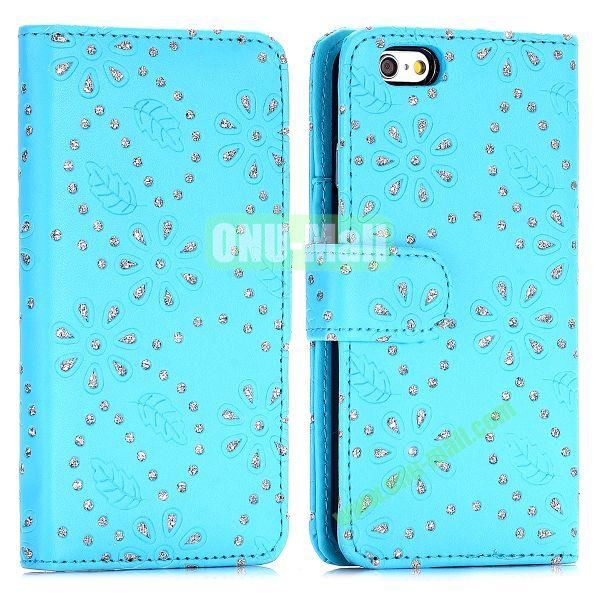 Glittery Powder Maple Leaf Flowers Pattern Flip Stand PC+PU Leather Case for iPhone 6 4.7 inch (Blue)