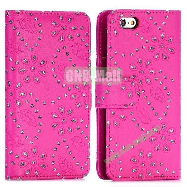 Glittery Powder Maple Leaf Flowers Pattern Flip Stand PC+PU Leather Case for iPhone 6 4.7 inch (Rose)