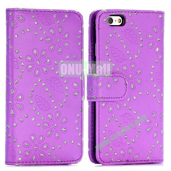 Glittery Powder Maple Leaf Flowers Pattern Flip Stand PC+PU Leather Case for iPhone 6 4.7 inch (Purple)