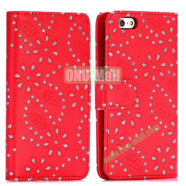 Glittery Powder Maple Leaf Flowers Pattern Flip Stand PC+PU Leather Case for iPhone 6 4.7 inch (Red)