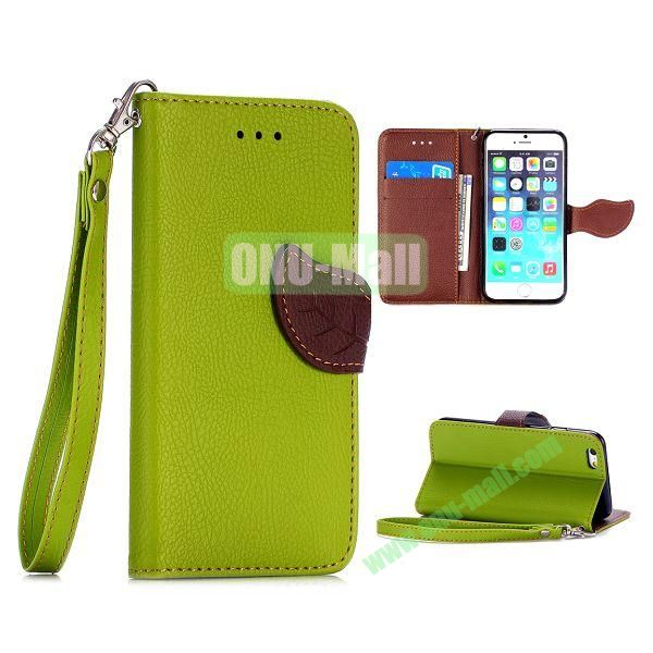 Cute Leaf Magnetic Buckle Litchi Texture Flip Stand TPU+PU Leather Case for iPhone 6 4.7 inch with Strap (Green)