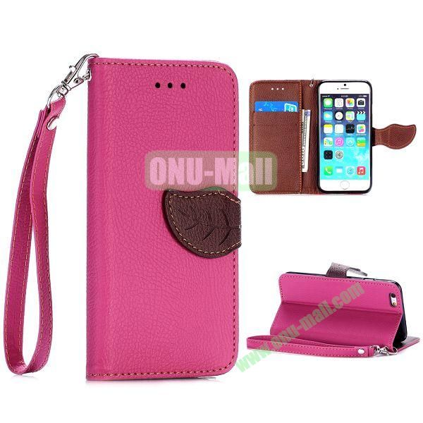 Cute Leaf Magnetic Buckle Litchi Texture Flip Stand TPU+PU Leather Case for iPhone 6 4.7 inch with Strap (Rose)