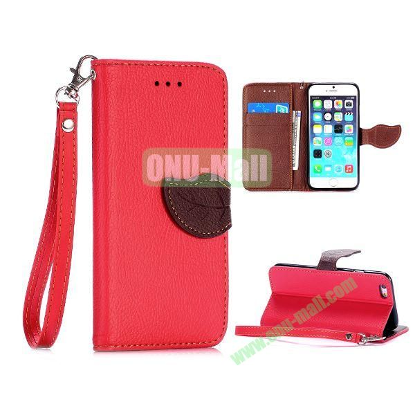 Cute Leaf Magnetic Buckle Litchi Texture Flip Stand TPU+PU Leather Case for iPhone 6 4.7 inch with Strap (Red)