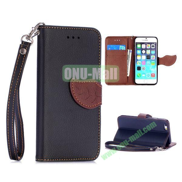 Cute Leaf Magnetic Buckle Litchi Texture Flip Stand TPU+PU Leather Case for iPhone 6 4.7 inch with Strap (Black)