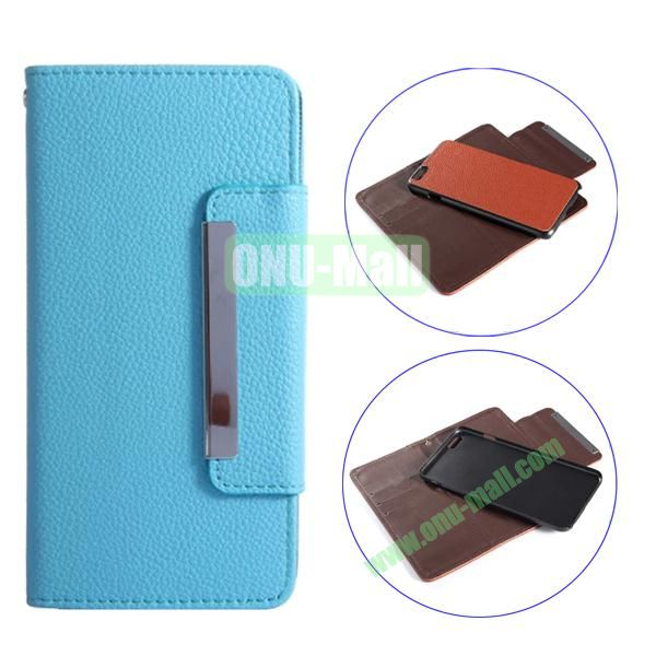 Detachable Style Litchi Pattern Flip Wallet PU Leather Case for iPhone 6 Plus 5.5 (Baby Blue)