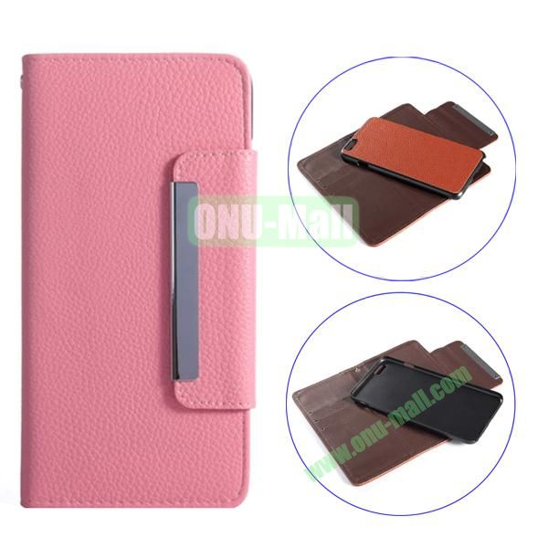 Detachable Style Litchi Pattern Flip Wallet PU Leather Case for iPhone 6 Plus 5.5 (Pink)