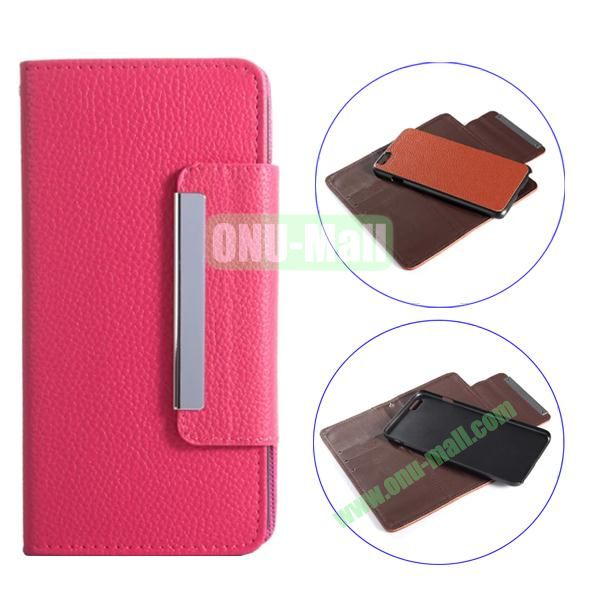 Detachable Style Litchi Pattern Flip Wallet PU Leather Case for iPhone 6 Plus 5.5 (Rose)