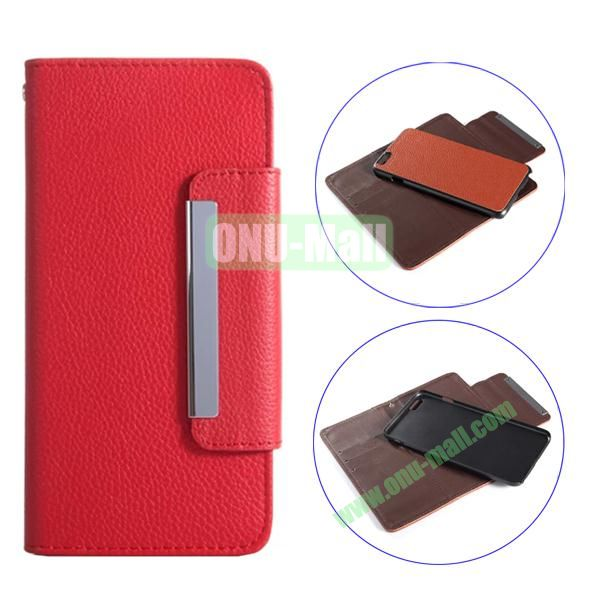 Detachable Style Litchi Pattern Flip Wallet PU Leather Case for iPhone 6 Plus 5.5 (Red)