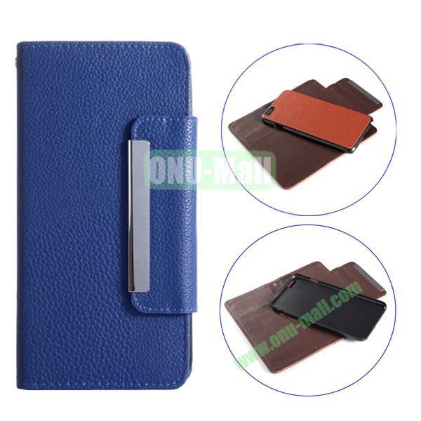 Detachable Style Litchi Pattern Flip Wallet PU Leather Case for iPhone 6 Plus 5.5 (Dark Blue)