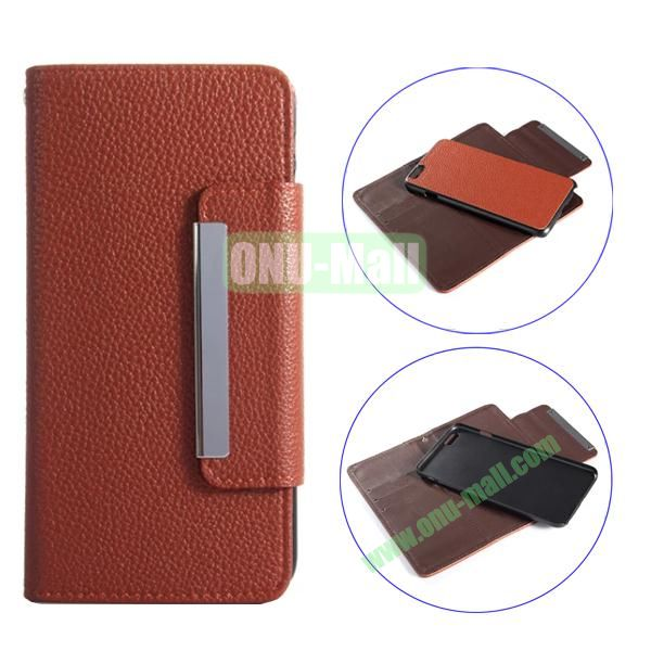 Detachable Style Litchi Pattern Flip Wallet PU Leather Case for iPhone 6 Plus 5.5 (Brown)