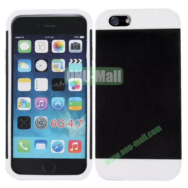 Mix Color Hybrid Design PC and Silicone Case for iPhone 6 4.7 with Card Slots (Black and White)