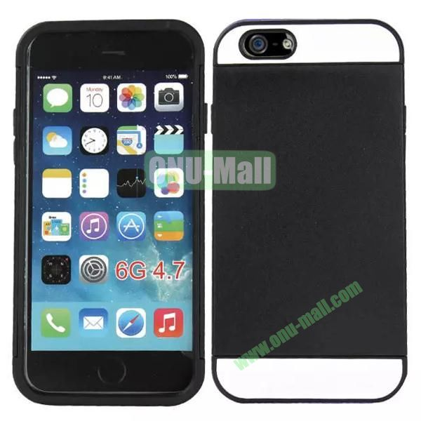 Mix Color Hybrid Design PC and Silicone Case for iPhone 6 4.7 with Card Slots (White and Black)
