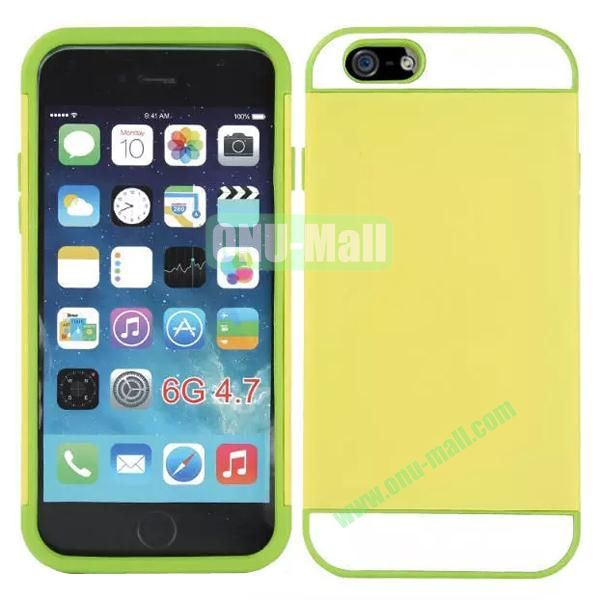 Mix Color Hybrid Design PC and Silicone Case for iPhone 6 4.7 with Card Slots (Yellow and Green)