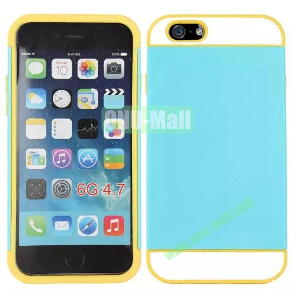 Mix Color Hybrid Design PC and Silicone Case for iPhone 6 4.7 with Card Slots (Blue, White and Yellow)