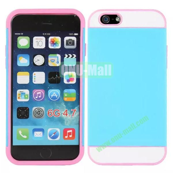 Mix Color Hybrid Design PC and Silicone Case for iPhone 6 4.7 with Card Slots (Blue, White and Pink)