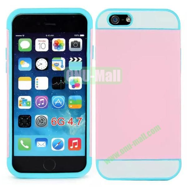 Mix Color Hybrid Design PC and Silicone Case for iPhone 6 4.7 with Card Slots (Pink, White and Blue)