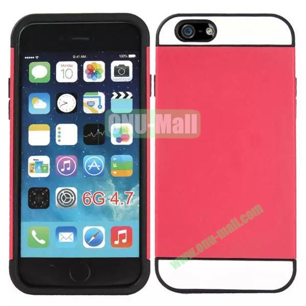 Mix Color Hybrid Design PC and Silicone Case for iPhone 6 4.7 with Card Slots (Red, White and Black)