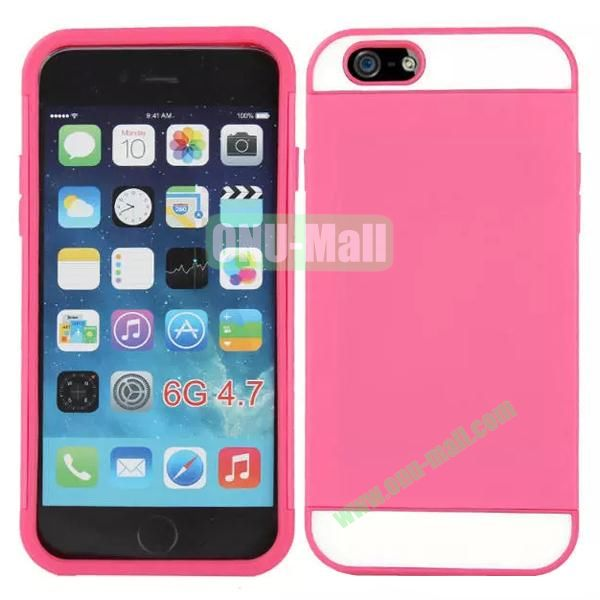 Mix Color Hybrid Design PC and Silicone Case for iPhone 6 4.7 with Card Slots (Pink and White)