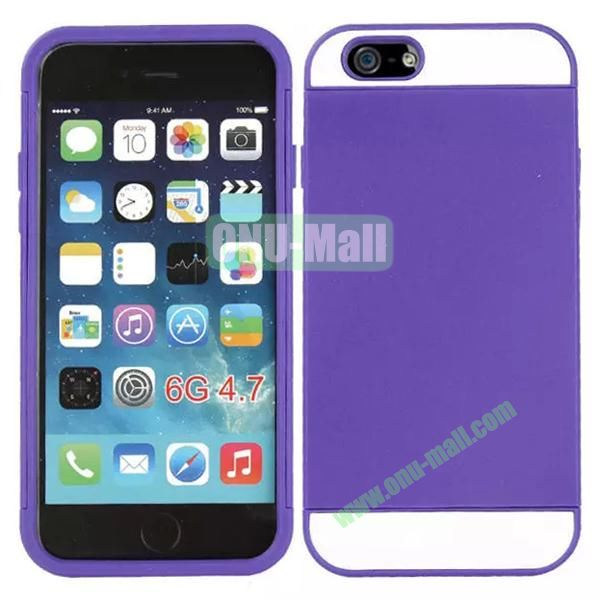 Mix Color Hybrid Design PC and Silicone Case for iPhone 6 4.7 with Card Slots (Purple and White)