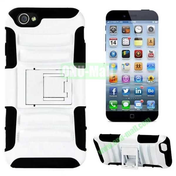Hot Sale Snap-on Rubber Belt Clip Holster Backup Silicone + PC Heavy Duty Phone Cases for iPhone 6 Plus 5.5 inch with Stand (White)