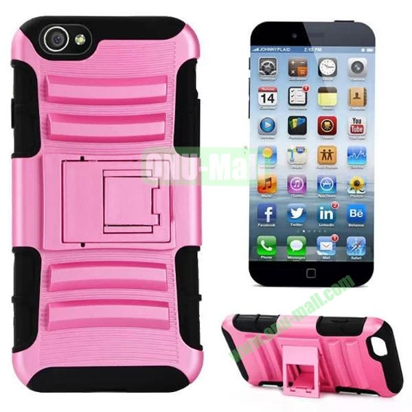 Hot Sale Snap-on Rubber Belt Clip Holster Backup Silicone + PC Heavy Duty Phone Cases for iPhone 6 Plus 5.5 inch with Stand (Pink)