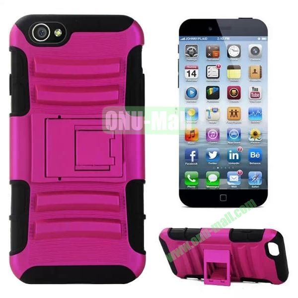 Hot Sale Snap-on Rubber Belt Clip Holster Backup Silicone + PC Heavy Duty Phone Cases for iPhone 6 Plus 5.5 inch with Stand (Rose)