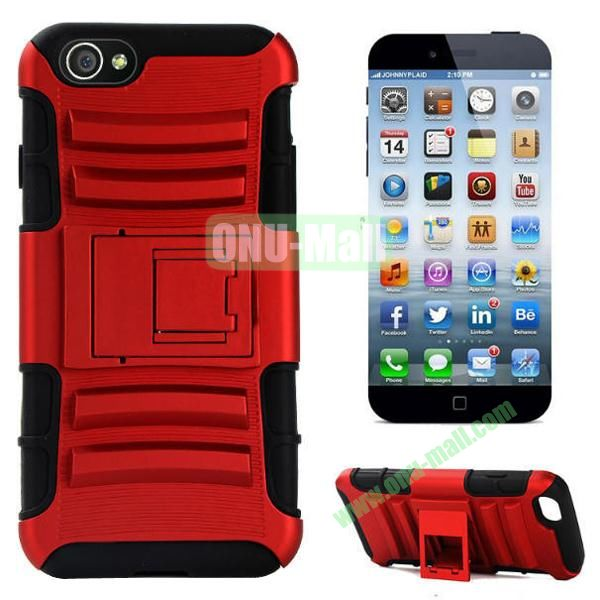 Hot Sale Snap-on Rubber Belt Clip Holster Backup Silicone + PC Heavy Duty Phone Cases for iPhone 6 Plus 5.5 inch with Stand (Red)