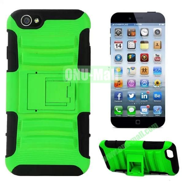 Hot Sale Snap-on Rubber Belt Clip Holster Backup Silicone + PC Heavy Duty Phone Cases for iPhone 6 Plus 5.5 inch with Stand (Green)