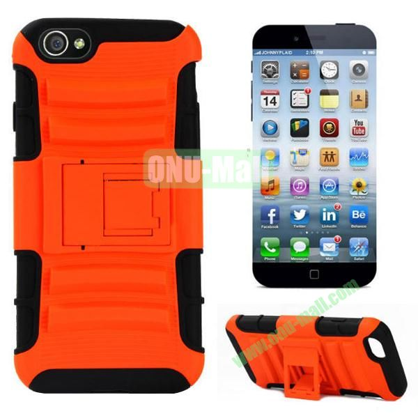 Hot Sale Snap-on Rubber Belt Clip Holster Backup Silicone + PC Heavy Duty Phone Cases for iPhone 6 Plus 5.5 inch with Stand (Orange)