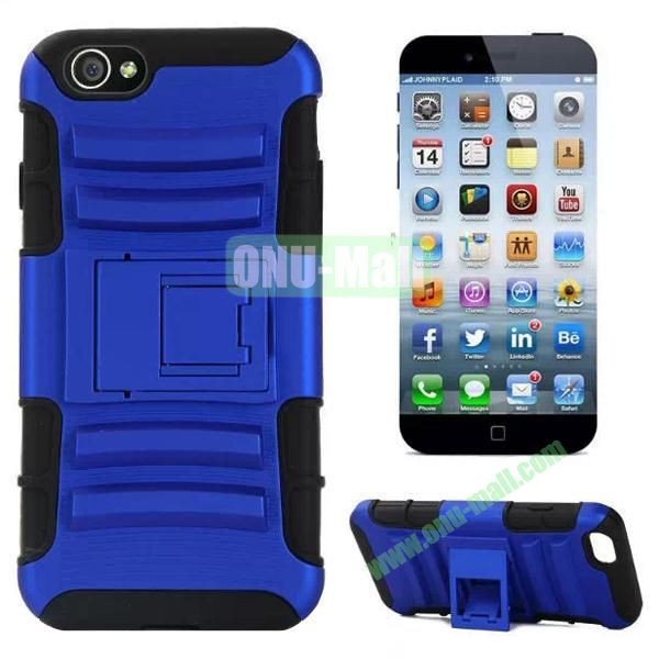 Hot Sale Snap-on Rubber Belt Clip Holster Backup Silicone + PC Heavy Duty Phone Cases for iPhone 6 Plus 5.5 inch with Stand (Blue)