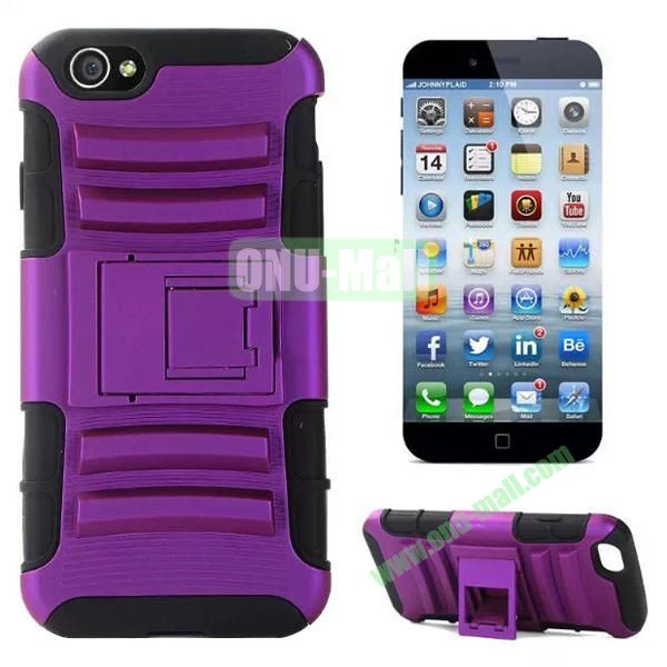 Hot Sale Snap-on Rubber Belt Clip Holster Backup Silicone + PC Heavy Duty Phone Cases for iPhone 6 Plus 5.5 inch with Stand (Purple)