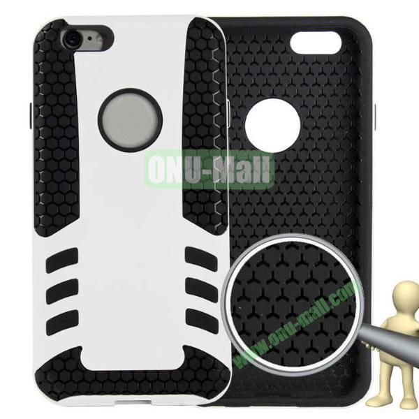 Rock Series Snap-on 2 in 1 Pattern Backup Silicone + PC Hybrid Case for iPhone 6 Plus 5.5 inch (White)