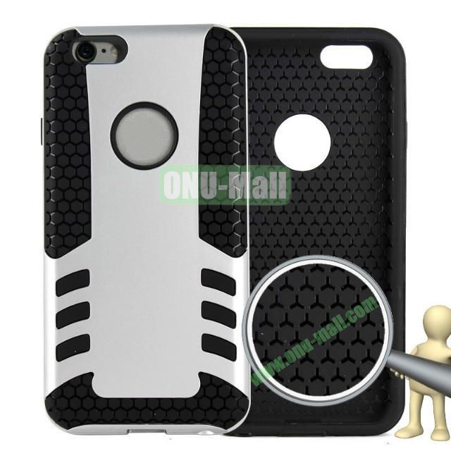 Rock Series Snap-on 2 in 1 Pattern Backup Silicone + PC Hybrid Case for iPhone 6 Plus 5.5 inch (Silvery)