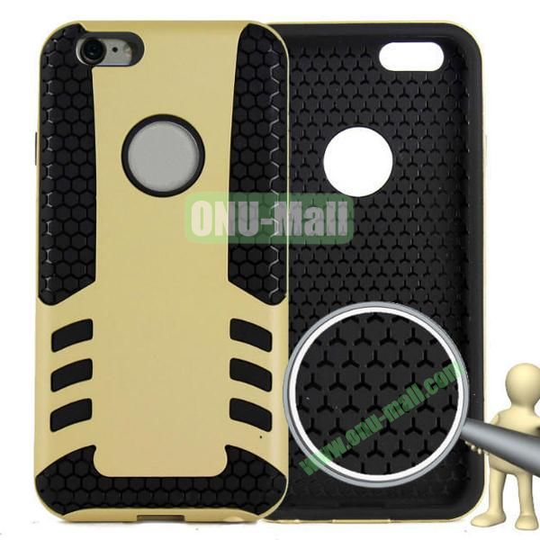 Rock Series Snap-on 2 in 1 Pattern Backup Silicone + PC Hybrid Case for iPhone 6 Plus 5.5 inch (Gold)