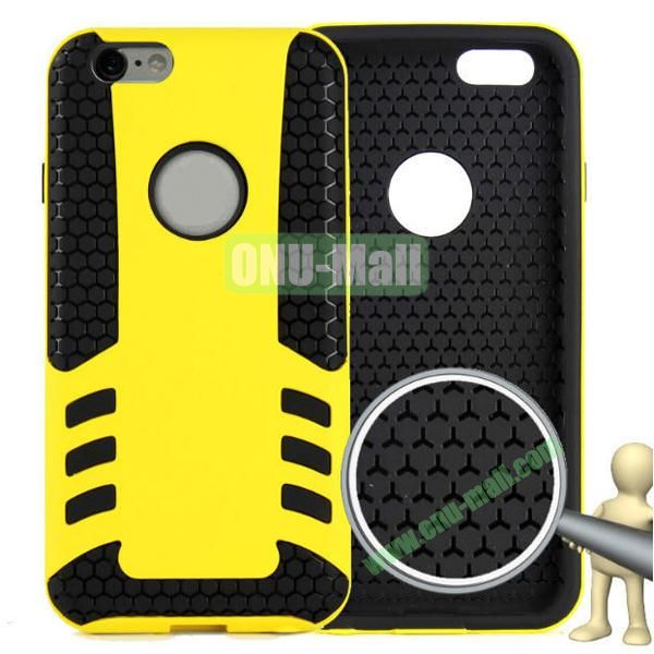Rock Series Snap-on 2 in 1 Pattern Backup Silicone + PC Hybrid Case for iPhone 6 Plus 5.5 inch (Yellow)